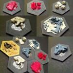 3D Printed Custom Sci-fi Settlers of Catan Resource Tiles